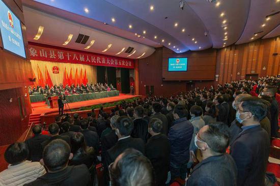 象山县十八届人大五次会议现场。  周科 摄
