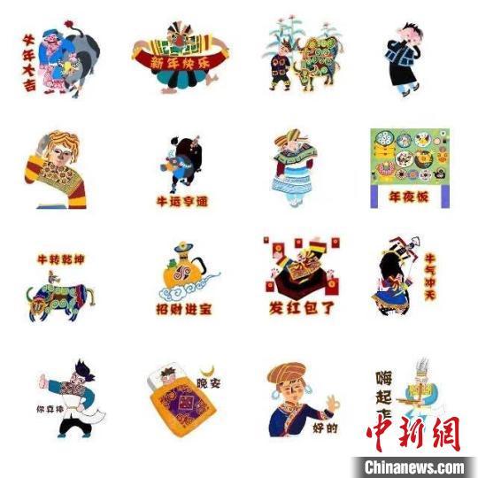 """图为徐小迪创作的""""牛""""元素水城农民画文创作品。受访者提供"""