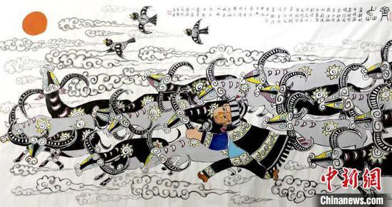 """图为徐承贵父子创作的""""奔牛""""农民画作品。受访者提供"""