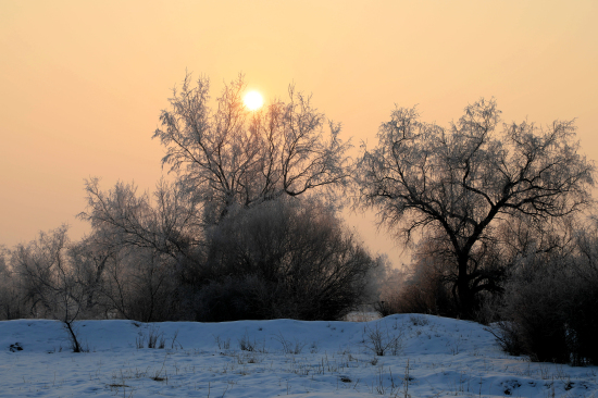 新疆察布查尔县:落日余晖与   你相伴