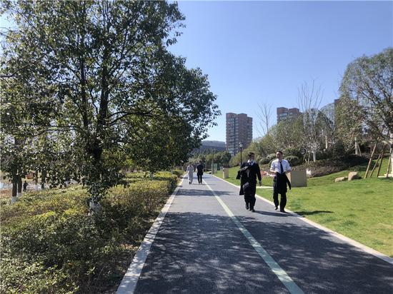 民众外出散步场景。林波 摄