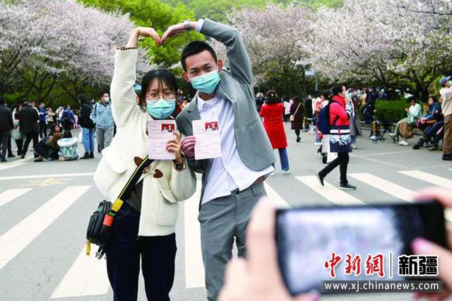 """抗疫护士结缘重返武汉赴""""樱花之约"""""""