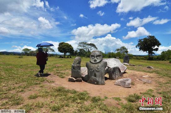 近日,印尼中蘇拉威西省波索縣Hanggira村,Pokokea巨石遺址。據估算,這些巨石在公元前5000年就已存在。