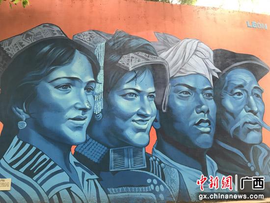 """桂林七星区""""后浪潮""""涂鸦墙献礼中国共产党成立100周年"""