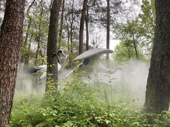 白鹤展翅造型与自然景观融为一体。  李典 摄
