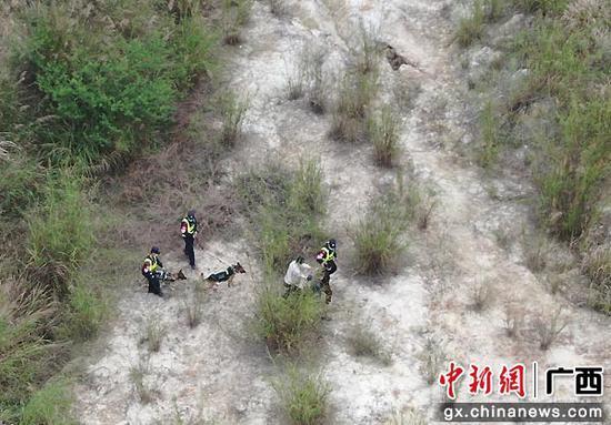 圖為民警運用無人機和警犬搜捕吸毒人員周某某。胡振業 攝