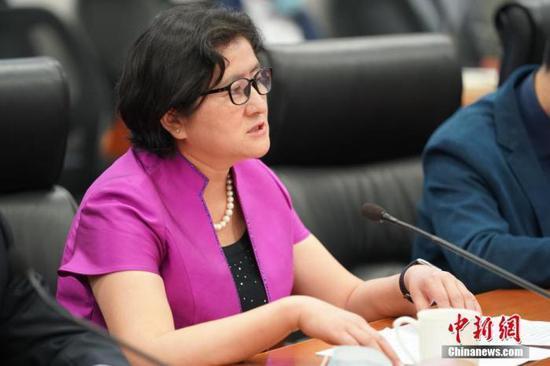 图为中国国际贸易促进委员会新疆维吾尔自治区委员会会长姚玉珍介绍情况。中新社记者 苏丹 摄