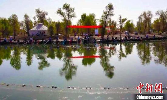 """一场以""""魅力沙雅渔乐无限""""为主题的垂钓大赛,引得游客们纷纷驻足观看。 张鸿 摄"""