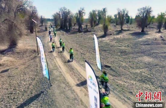 沙雅县沙雁洲景区一场山地自行车挑战赛激情上演。 张鸿 摄