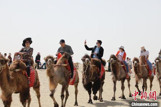游客在沙漠里骑骆驼。 李桃 摄