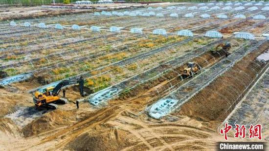 目前,第十师一八三团正在紧张有序地改造养虾大棚。 李正虎 摄