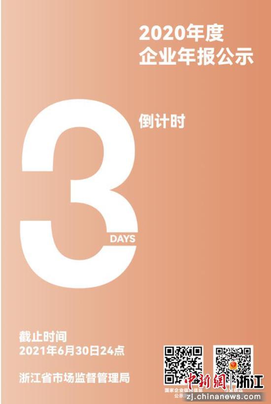 距离2020年度市场主体年报【公示截止时间仅剩3天。浙江」省市场监管局供图