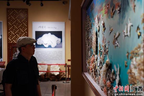 廣西北海貝雕藝術品精美絕倫 引游客打卡參觀