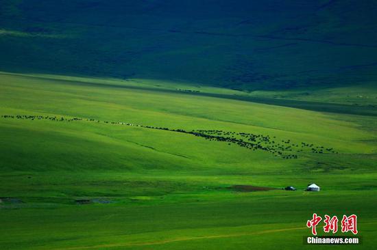 新疆托克遜縣黑山草原色彩斑斕景色如畫