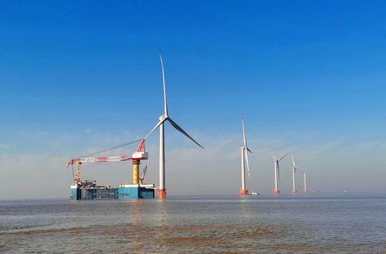 建设中的浙能嘉兴1号海上风电场