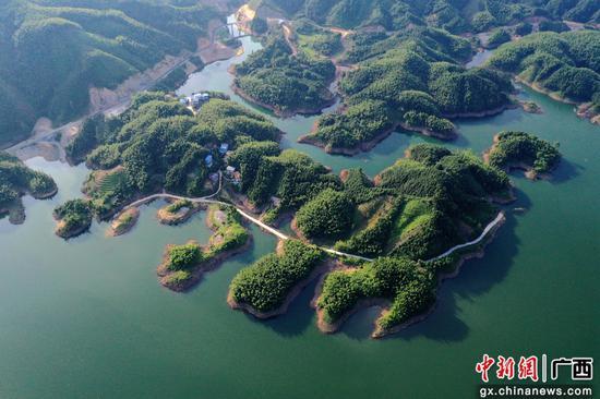 航拍落久水庫高峽平湖景觀