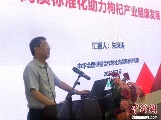 中华全国供销社总社济南果品研究院副院长朱风涛分析交流。 陶拴科 摄