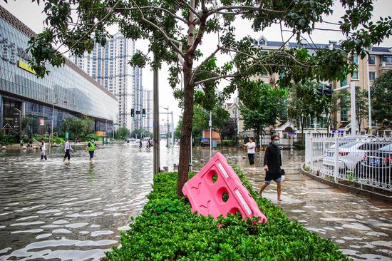 天津濱海新區突發局地強降雨天氣