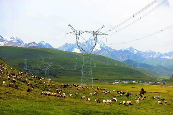 2020年10月14日,新疆实现了750千伏电网全覆盖,为新疆经济社会发展提供了充足的能源保障。图为穿越巴音布鲁克草原的750千伏伊库线。 张利民 摄