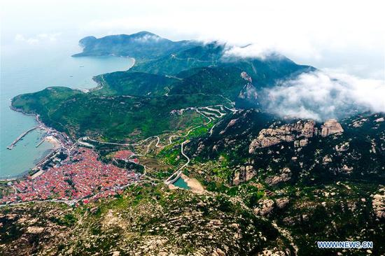Aerial view of Laoshan Mountain in Qingdao, Shandong