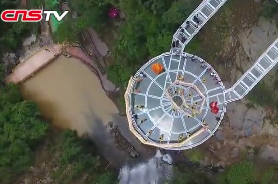 Walking on air! Stunning footage shows a newly built glass in Guangdong